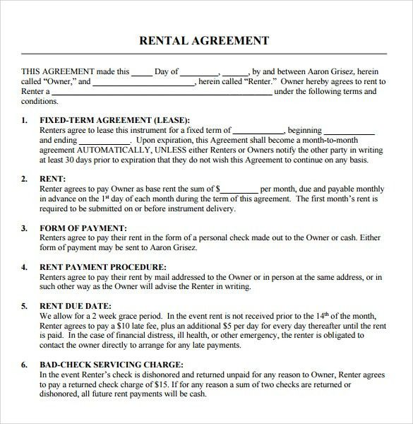 Free Editable Rental Agreement Template with Blank Space and 6 ...