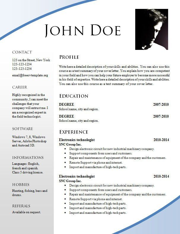 resume models in word format for freshers free download german ...