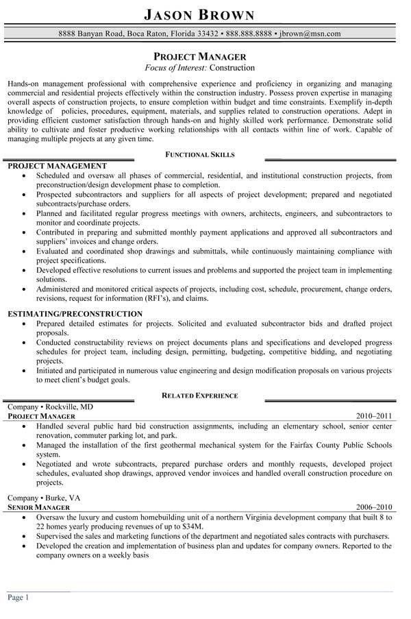 Construction Project Manager Resume Sample | Free Resumes Tips