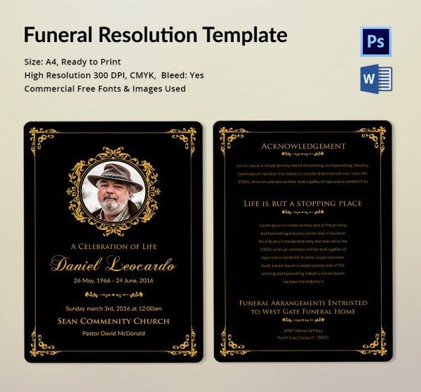 Funeral Resolution Template - 5 Word, PSD Format Download | Free ...