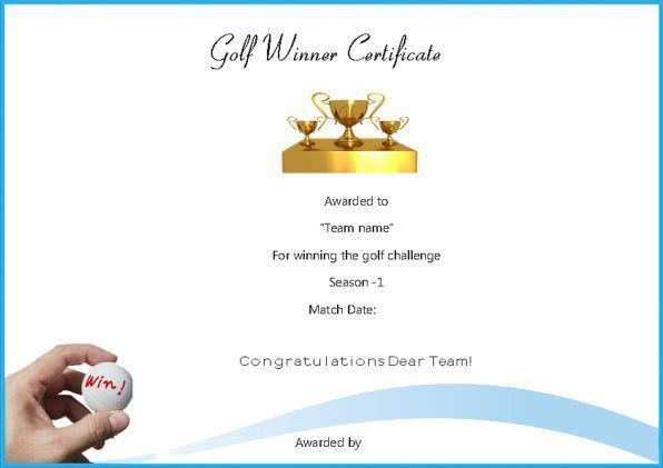 Adorable Golf Certificates for Professional Players : Free ...