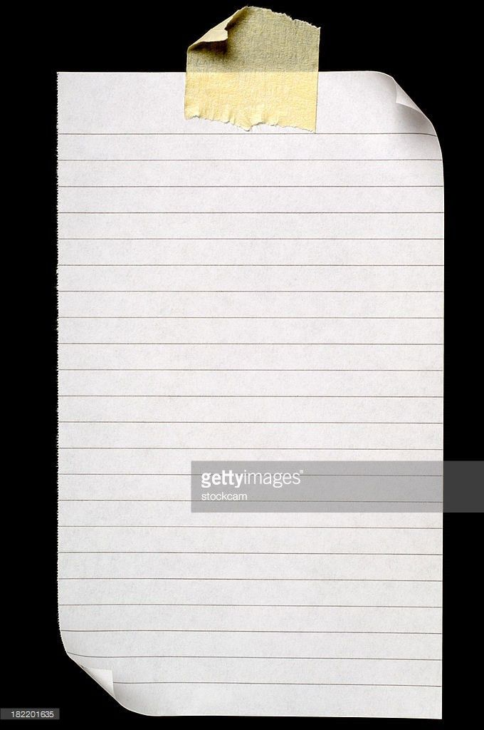 Sheet Of Lined Blank Note Paper Isolated On White Stock Photo ...