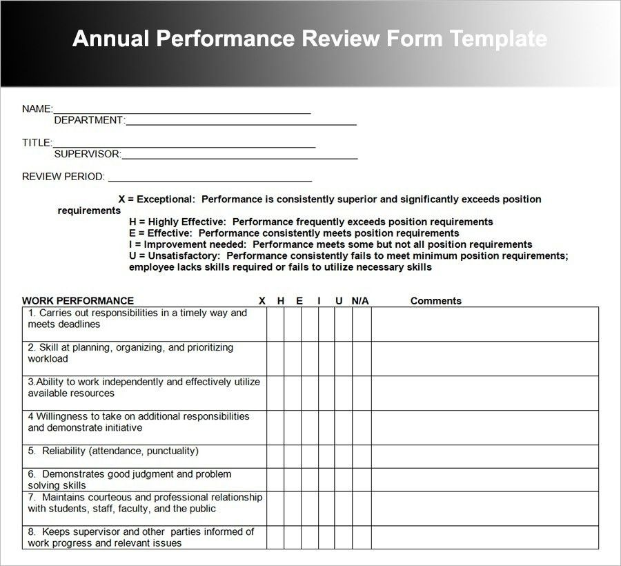 Performance Review Template | onlinecashsource