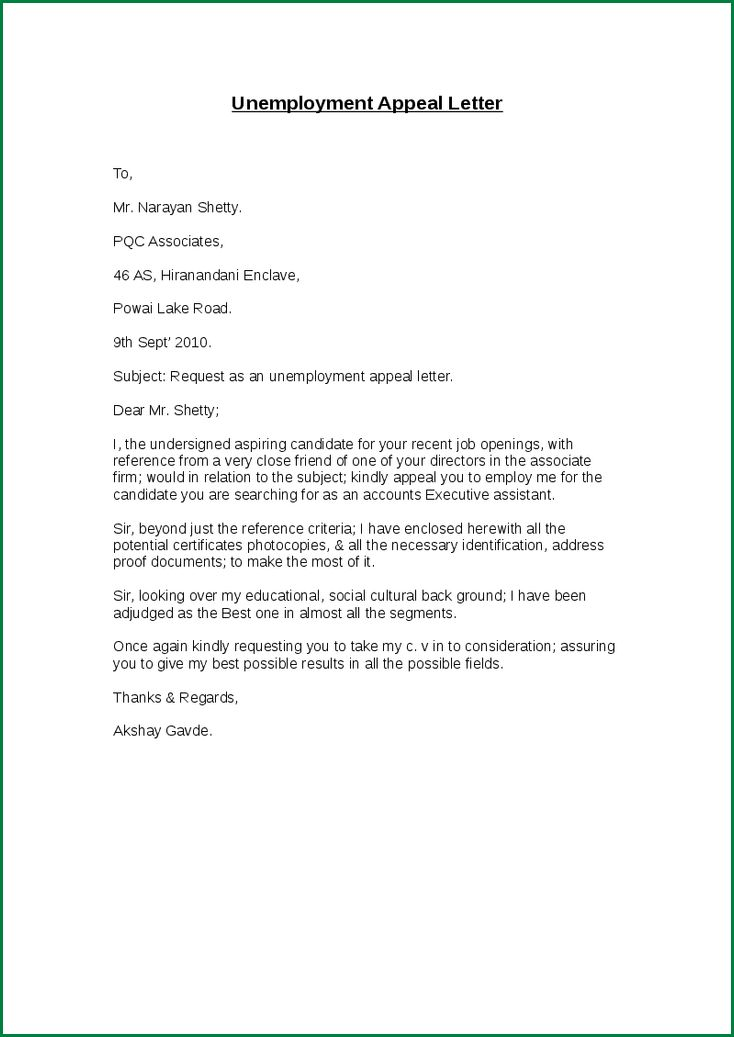 a sample unemployment appeal letter for a denial of unemployment ...