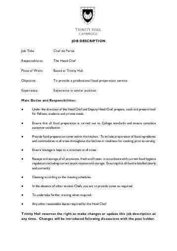 JOB DESCRIPTION Position Casual Sous Chef Responsible To .
