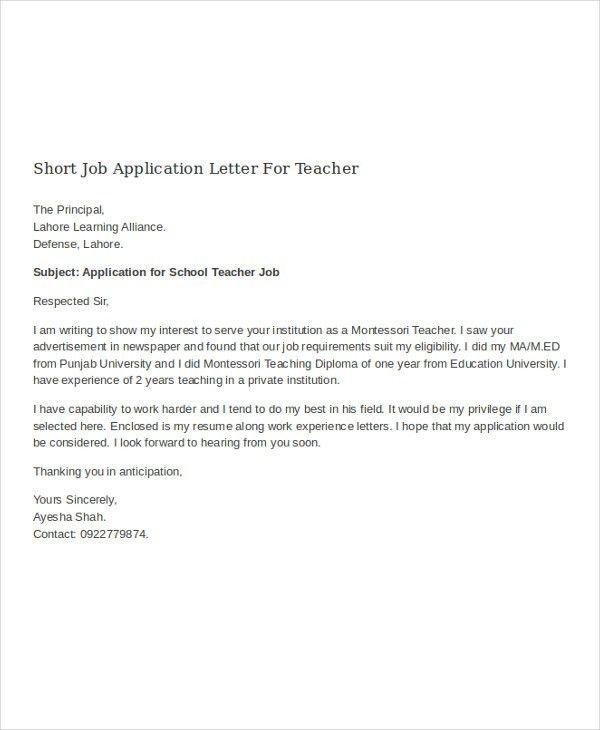 Sample Job Application Letter For Teacher - Mediafoxstudio.com