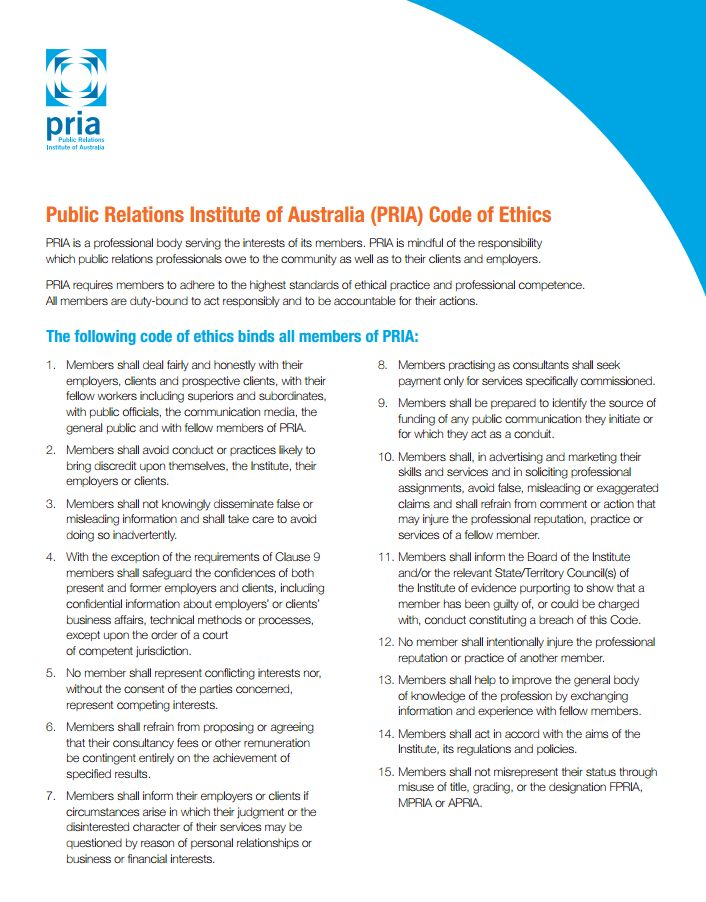 Individual code of ethics - Public Relations Institute of Australia