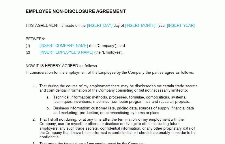 Non Disclosure Agreement (NDA): Employee Template - Bizorb