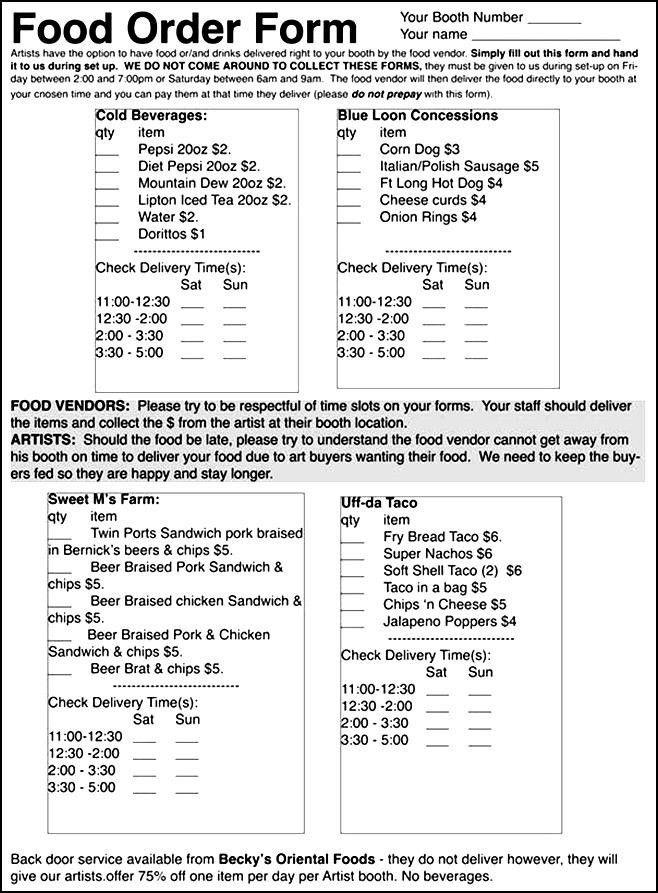 Food Order Form Examples | Besttemplates123 | Sample Order ...