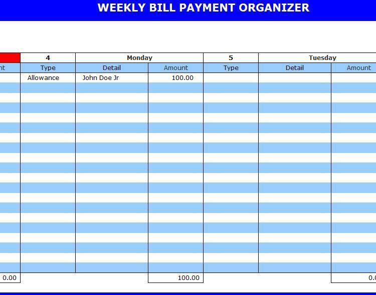 Bill Payment Organizer | Payment Organizer