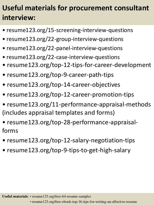 Top 8 procurement consultant resume samples