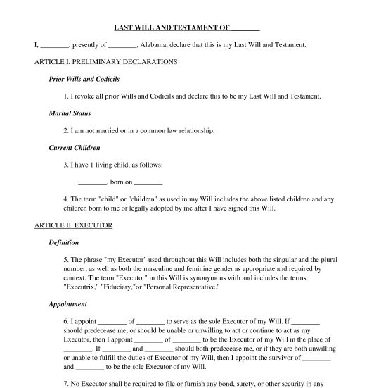 Last Will and Testament - Template - Word & PDF
