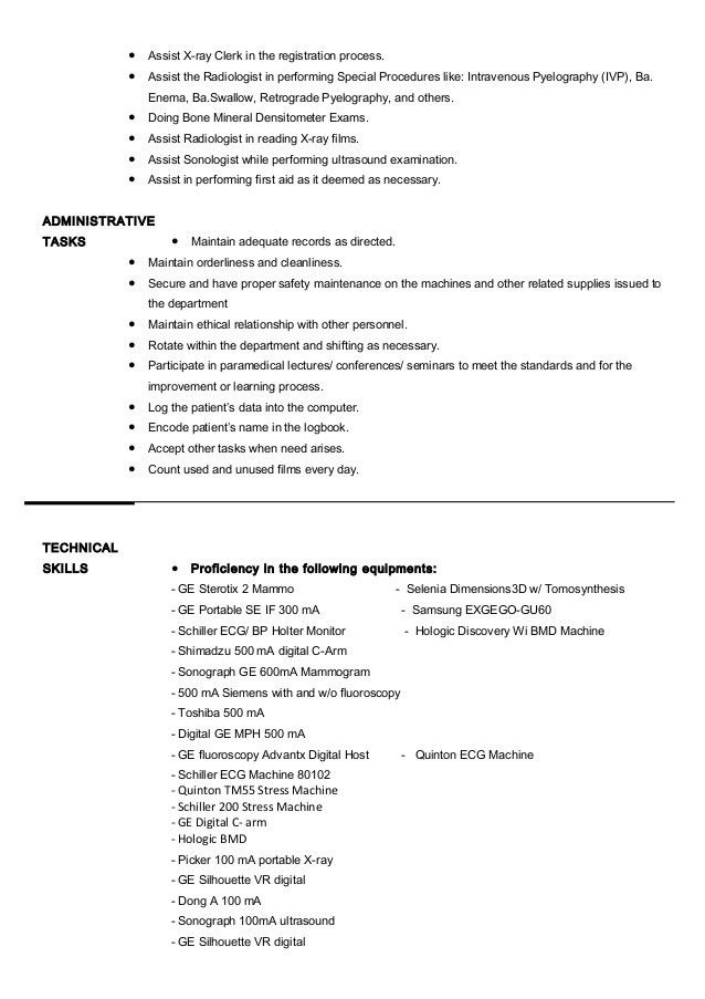 sample resume radiologic technologist click here to download this