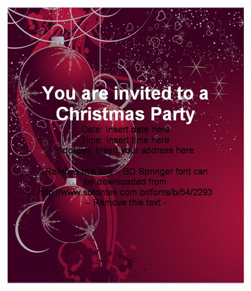 Christmas Party Invitation Templates Free - lilbibby.Com