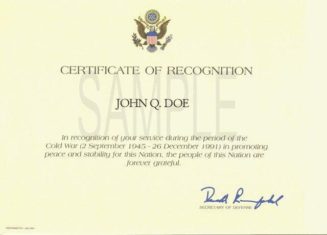 Posthumous Award Certificate Sample