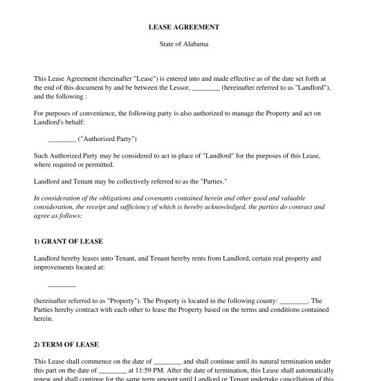 Residential Lease Agreement - Template - Word & PDF