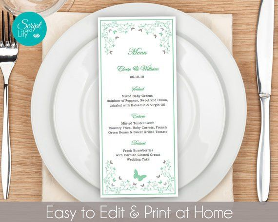 Butterfly Dinner Menu Template FREE Color Change Instant
