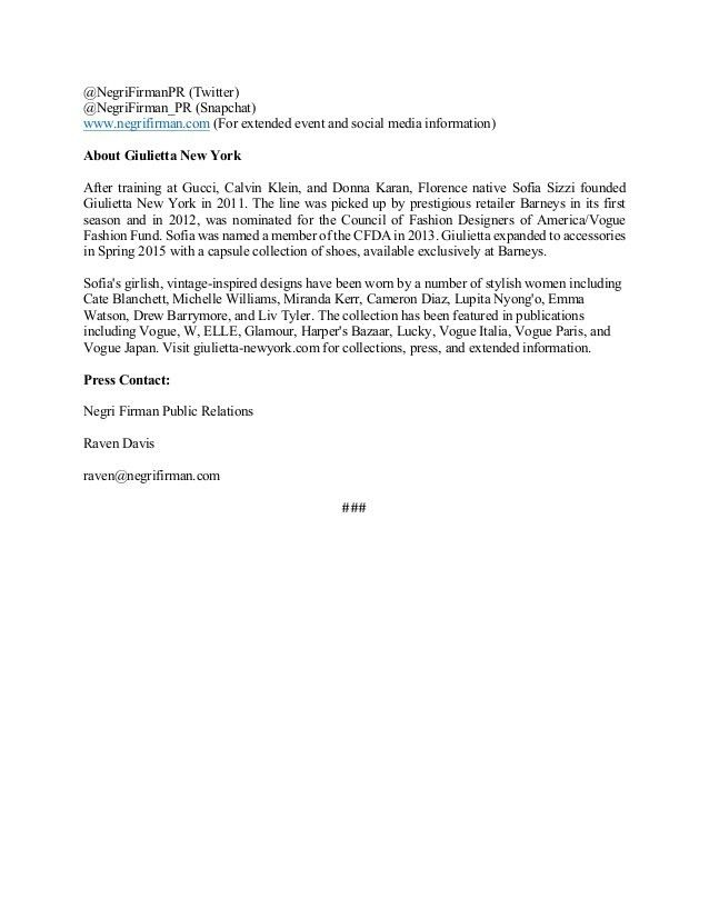 MOCK PRESS RELEASE - NF FASHION CLIENT