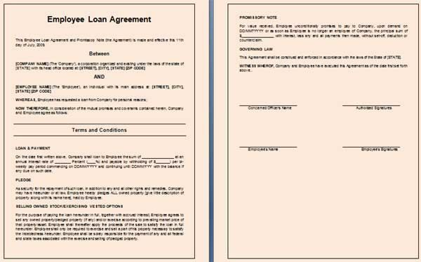 10 Best Images of Employee Loan Agreement - Employee Loan ...