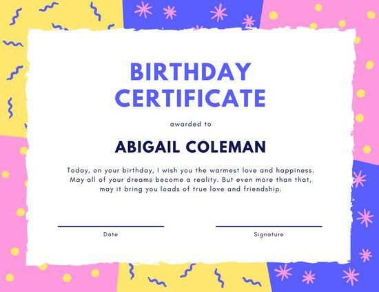 Mixed Patterns Birthday Certificate - Templates by Canva