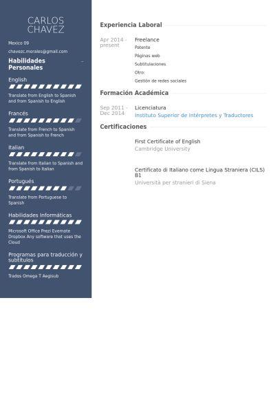 Freelance Resume samples - VisualCV resume samples database