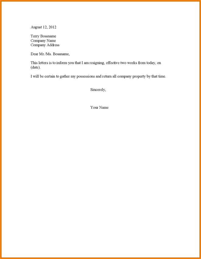 Awesome Free Resignation Letter Download Contemporary - Best ...