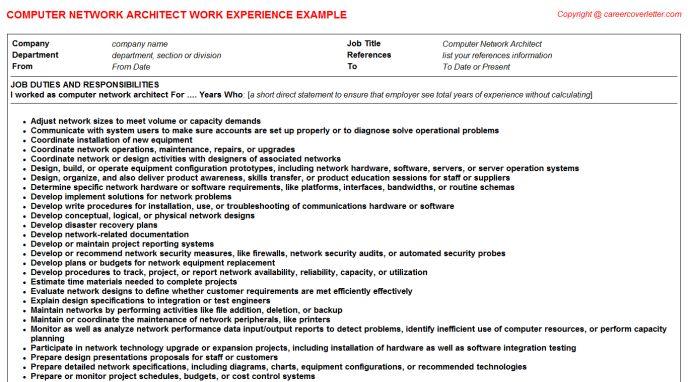 Computer Network Architect Job Title Docs