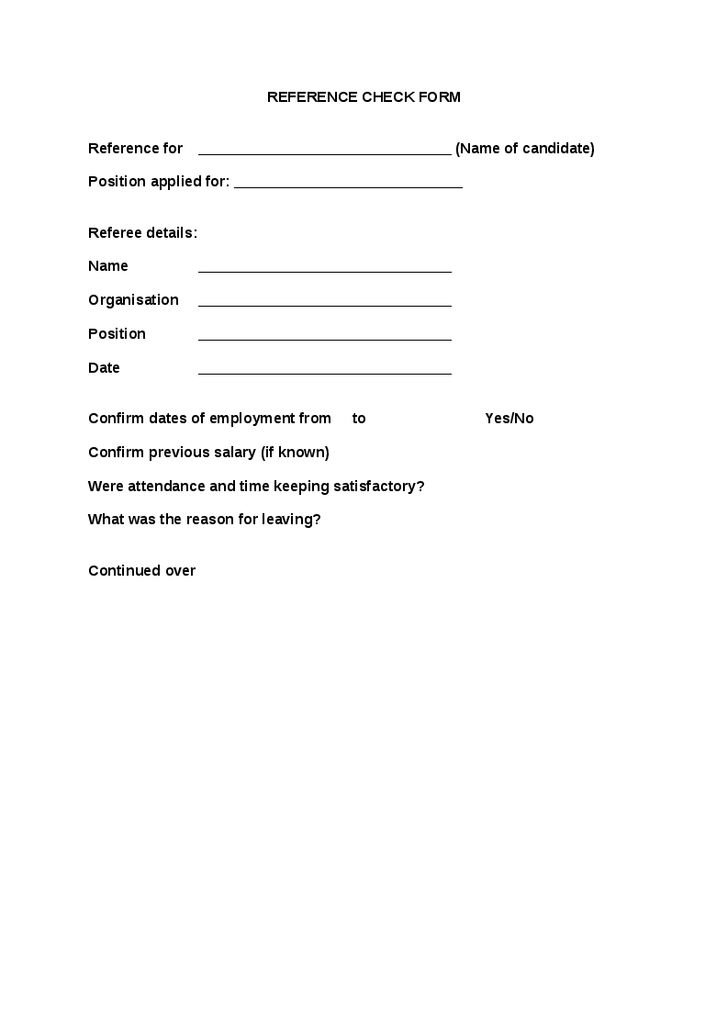 Employment Reference Form Template] Request For Employment ...