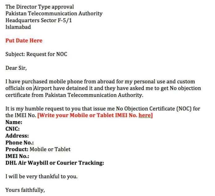 Example application to PTA for NOC of Mobile phone or Tablet import