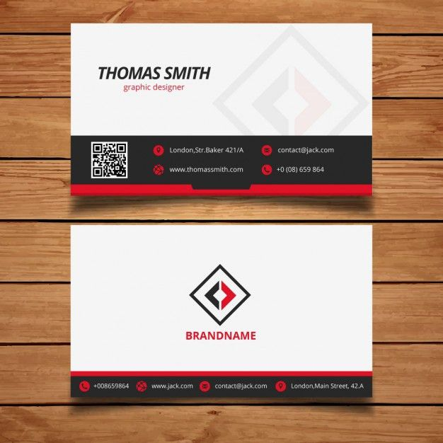 Black and Red Modern Business Card Template Vector | Free Download