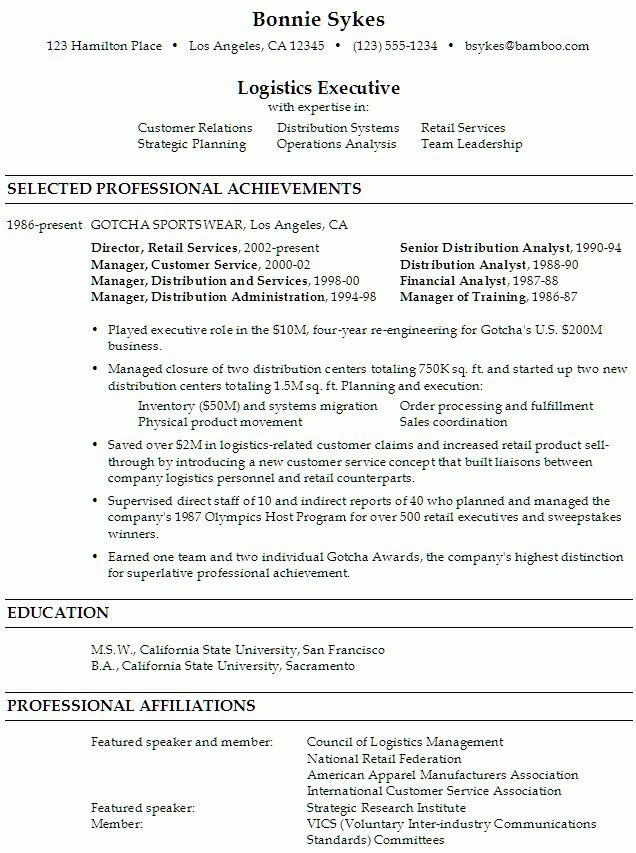 Resume Sample for a Logistics Executive - Susan Ireland Resumes