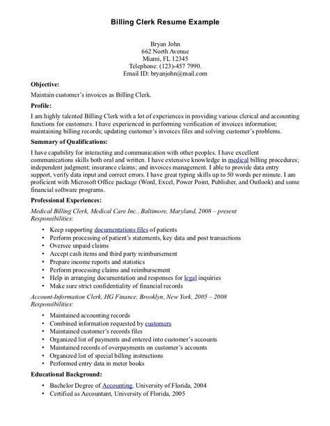 Medical Billing Clerk Resume Samples. clerk resume resume cv cover ...