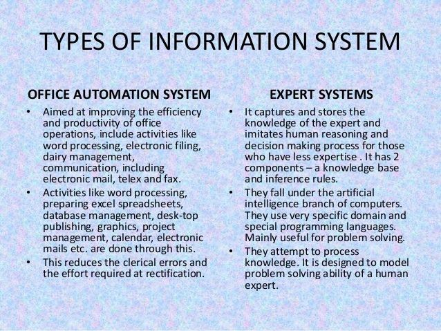 Management information system and control