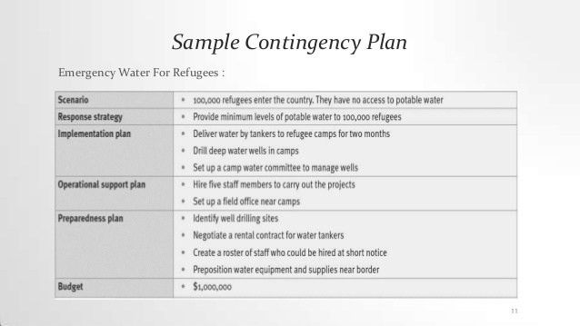 Sample Business Contingency Plan] Contingency Plan 1 ...