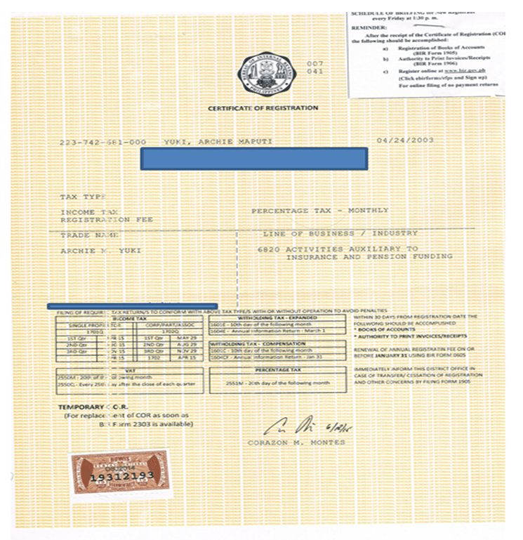My experience in getting Certificate of Registration at BIR as ...
