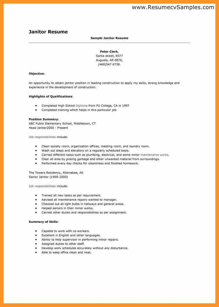 100+ [ Cleaner Sample Resume ] | Sample Cleaner Resume Free Resume ...