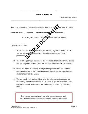 Notice to Quit (Nigeria) - Legal Templates - Agreements, Contracts ...