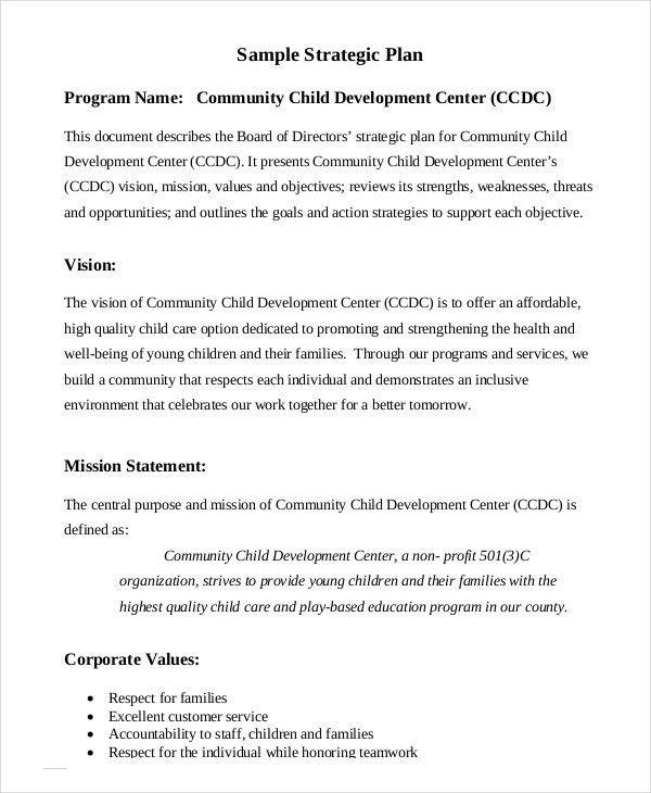 nonprofit strategic plan template