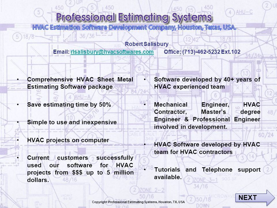 Copyright Professional Estimating Systems, Houston, TX, USA - ppt ...
