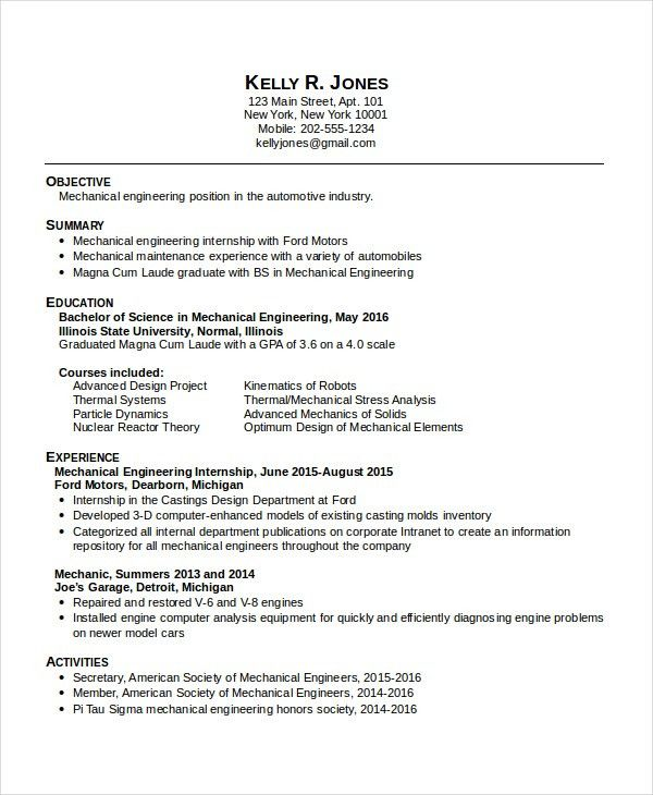 Cozy Design Mechanical Engineering Resume Templates 7 Mechanical ...