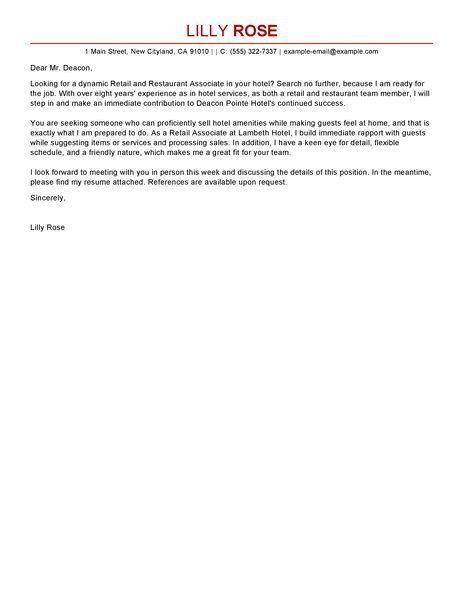 Hospitality cover letter samples