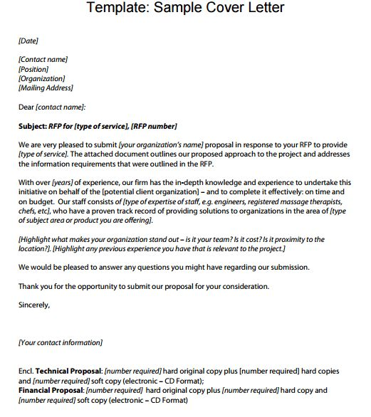 6+ Proposal Cover Letter Templates – Proposal Template