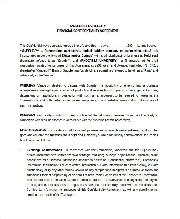 10+ Vendor Confidentiality Agreement Templates – Free Sample ...