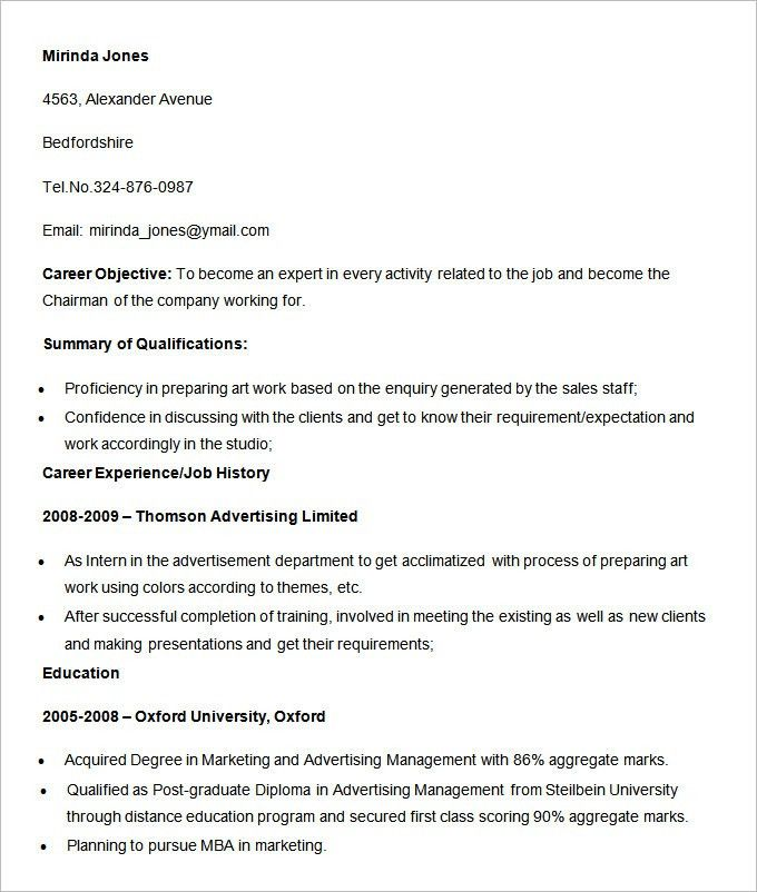 Advertising Resume Template – 16+ Free Samples, Examples, Format ...