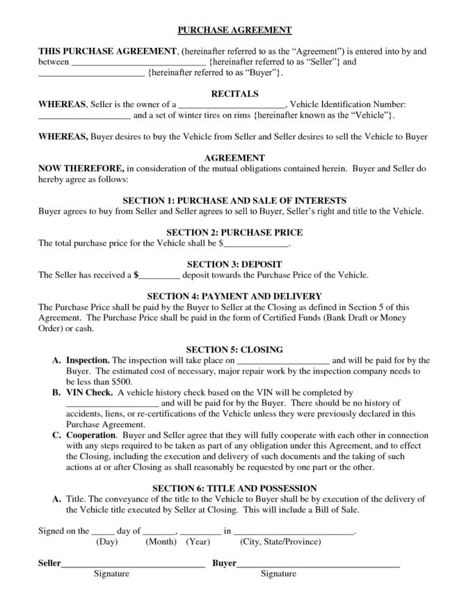 Printable Used Vehicle Purchase Agreement Template And Form : Vlcpeque