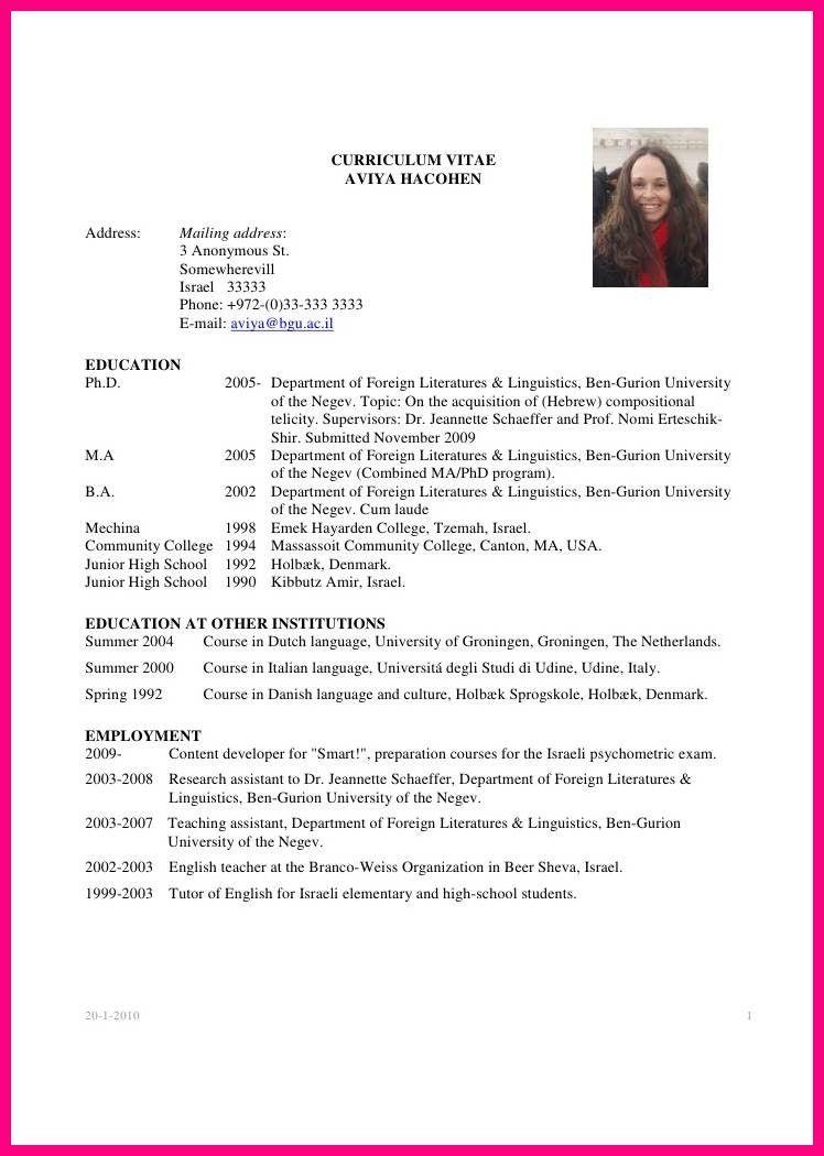 9 Sample Academic CV Graduate Student