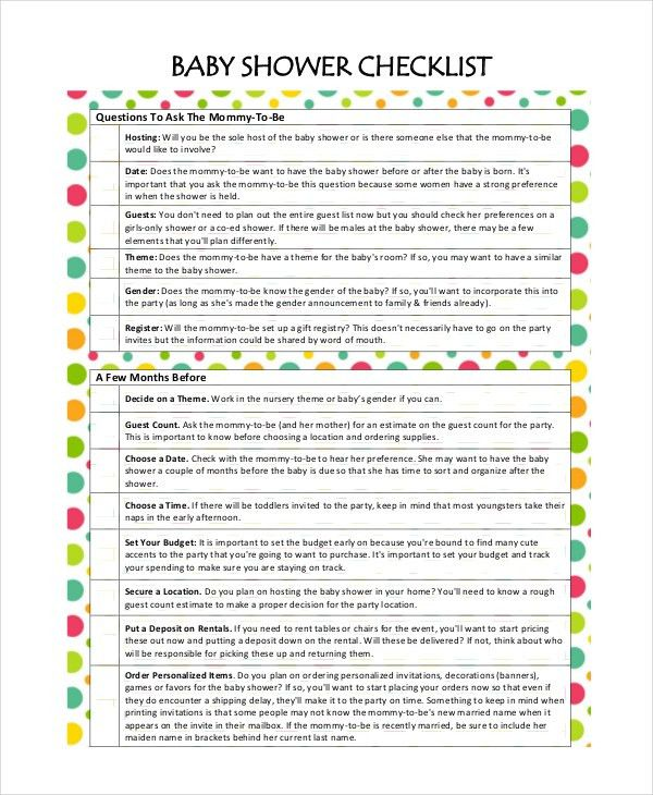 Baby Shower Planning - 5+ Free PDF Documents Download | Free ...