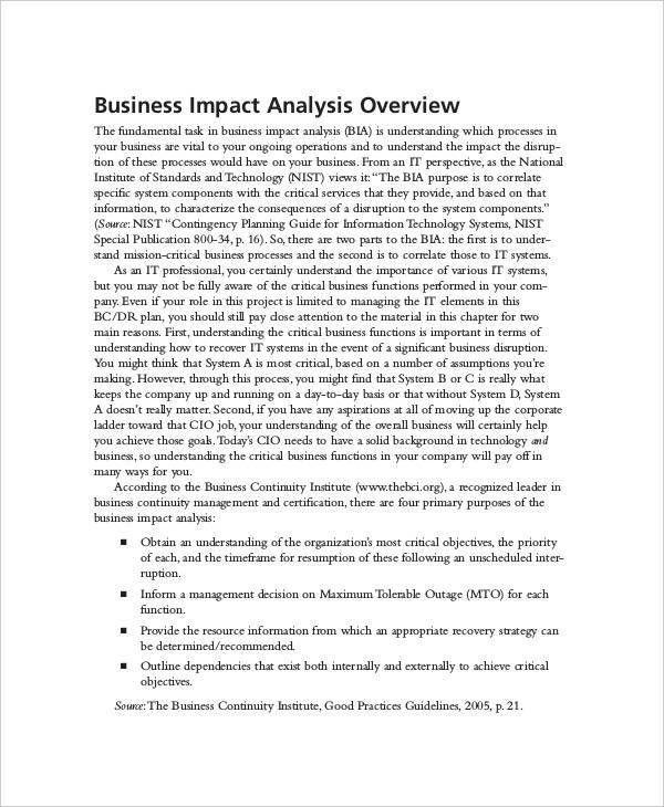 9+ Impact Analysis Examples, Samples