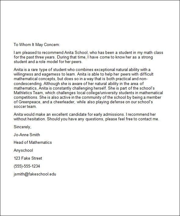 College Recommendation Letter Sample From Friend | Free Cover ...