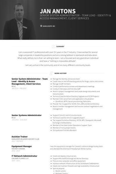 Systemadministrator CV Beispiel - VisualCV Lebenslauf Muster Datenbank